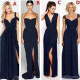 Mismatched Sexy Chiffon Navy Blue Formal Cheap Bridesmaid Dresses, WG180