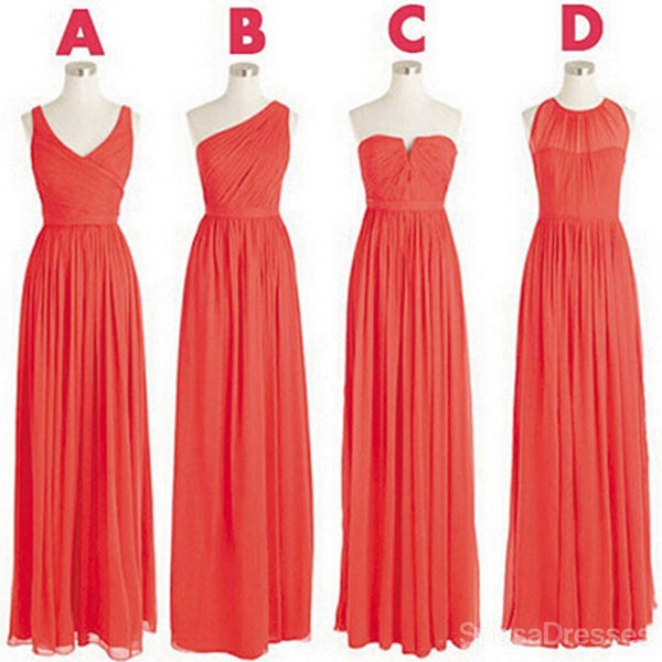Cheap Simple Mismatched Styles Chiffon A Line Long Bridesmaid Dresses, WG182