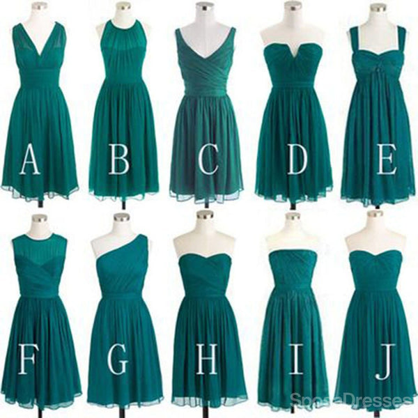 Teal Green Chiffon Mismatched Different Styles Knee Length Cheap Short Bridesmaid Dresses, WG185