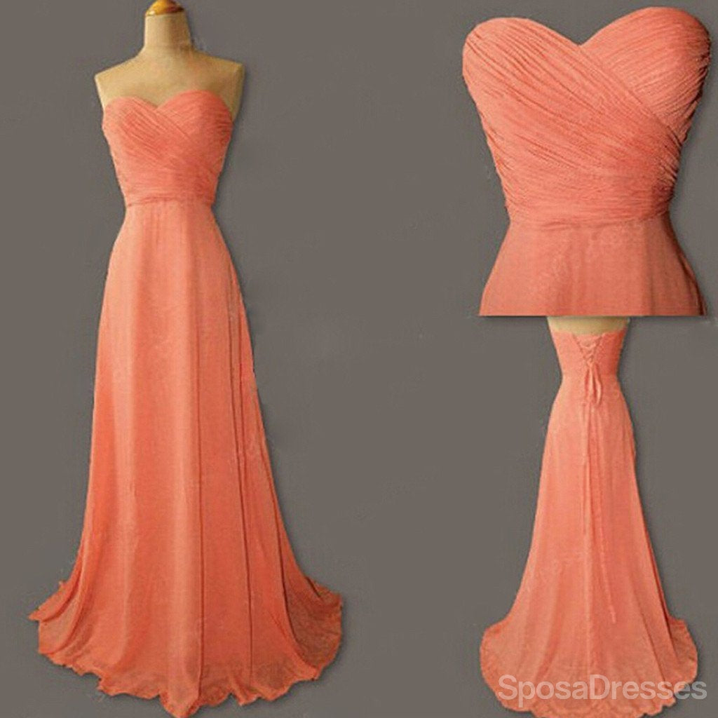 Junior young simple sweet heart chiffon formal coral lace up back junior young simple sweet heart chiffon formal coral lace up back long cheap bridesmaid dresses ombrellifo Gallery