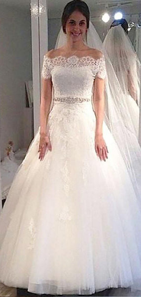 Off Shoulder Short Sleeves Lace Beaded A line Cheap Wedding Dresses Online, WD424