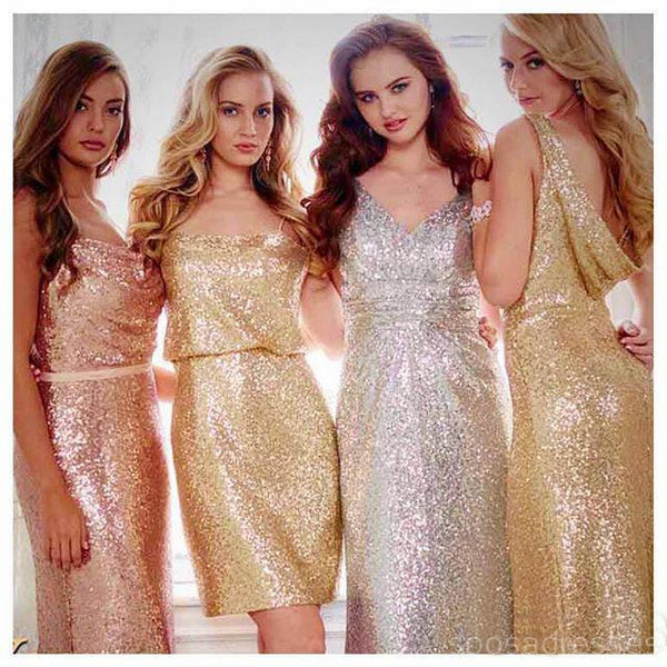 Gold Sparkly Mismatched Sequin Long Bridesmaid Dresses, Cheap Unique Custom Long Bridesmaid Dresses, Affordable Bridesmaid Gowns, BD105