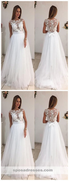 Cap Sleeves Bateau A-line Wedding Dresses Online, Cheap See Through Lace Bridal Dresses, WD448