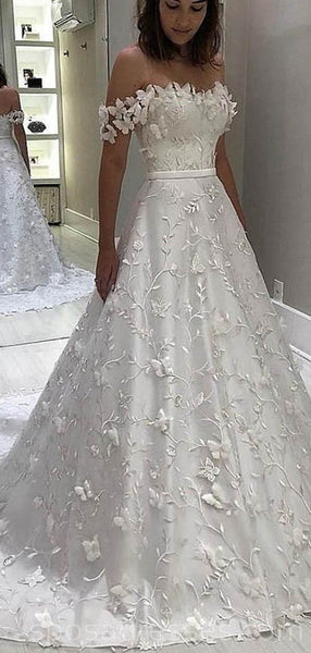 Off Shoulder A-line Lace Long Wedding Dresses Online, Cheap Bridal Dresses, WD531