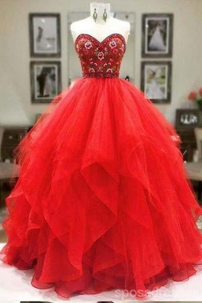 Sweetheart Red Ball Gown Long Evening Prom Dresses, Cheap Custom Sweet 16 Dresses, 18556