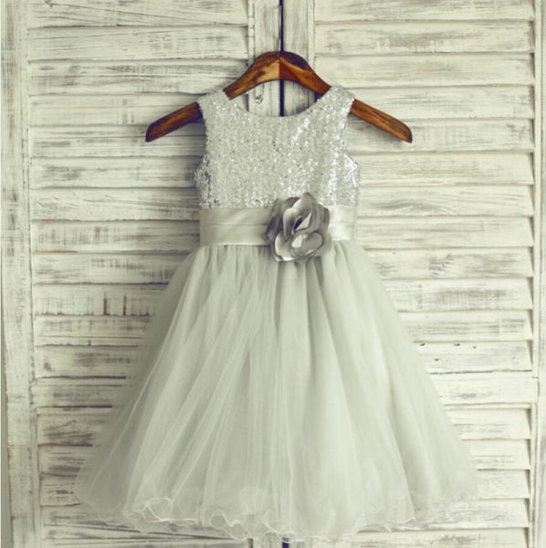 Light Grey Sequin Tulle Pretty Flower Girl Dresses Weding Little