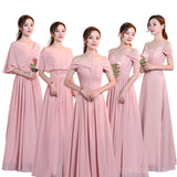 Blush Pink Floor Length Mismatched Chiffon Cheap Bridesmaid Dresses Online, WG534