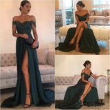 Dark Green Off Shoulder Sexy Side Slit Fashion Long Evening Prom Dresses, 17305