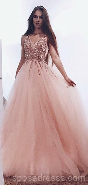 Peach Tulle Rose Gold Beaded Long Evening Prom Dresses, Cheap Custom Sweet 16 Dresses, 18547