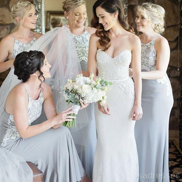 Halter Unique Lace Mermaid Cheap Long Grey Bridesmaid Dresses Online, WG217