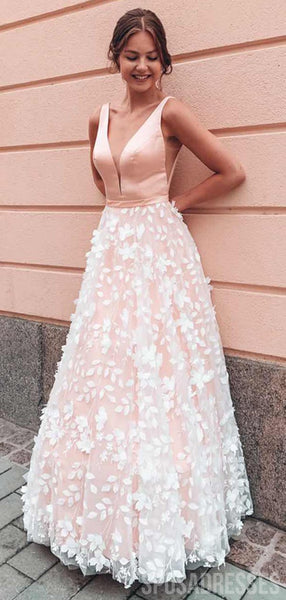 V Neck Flower Skirt Lace Wedding Dresses, Cheap Wedding Gown, WD675