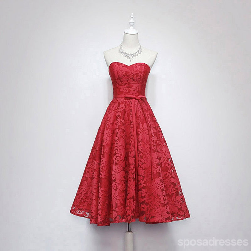 Strapless Sweet Heart Lace Cute Homecoming Prom Dresses, Affordable ...