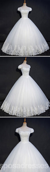 Cap Sleeve Lace Beaded A line Wedding Dresses, Custom Made Wedding Dresses, Cheap Wedding Gowns, WD214