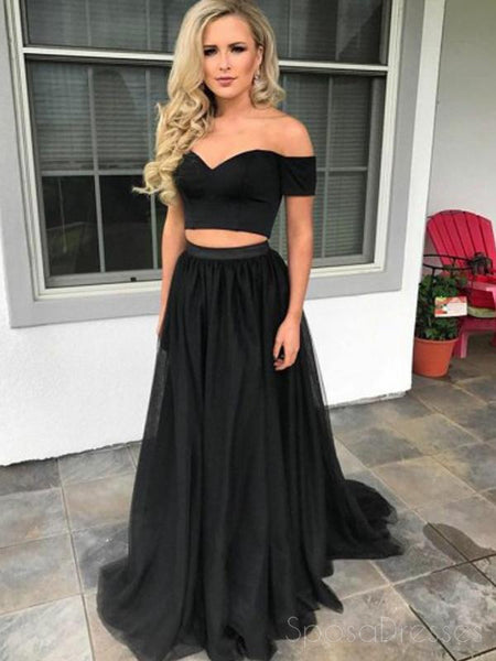 Off Shoulder Two Pieces Black Long Evening Prom Dresses, 17587