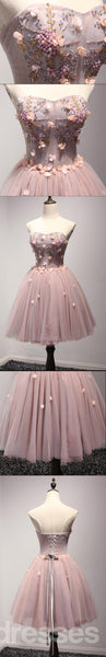 Beautiful Blush Pink Strapless Beaded Homecoming Prom Dresses, Affordable Short Party Corset Back Prom Dresses, Perfect Homecoming Dresses, CM213