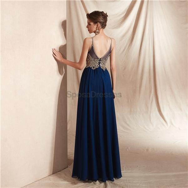 Navy Gold Lace Beaded Chiffon Evening Prom Dresses, Evening Party Prom Dresses, 12067