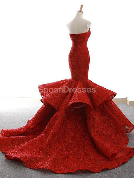 Unique Lace Red Mermaid Long Evening Prom Dresses, Evening Party Prom Dresses, 12261