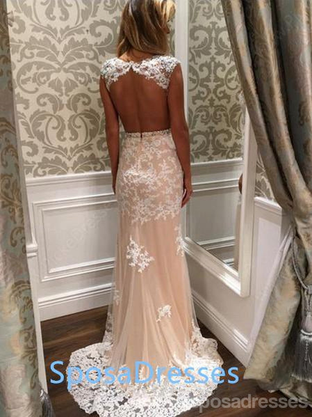 Sexy Open Back Lace Mermaid Long Evening Prom Dresses, 17461