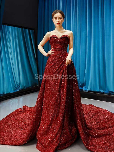 Sweetheart Red Sequin Sparkly Long Evening Prom Dresses, Evening Party Prom Dresses, 12231