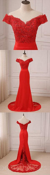 Off Shoulder Bright Red Lace Mermaid Long Evening Prom Dresses, 17558