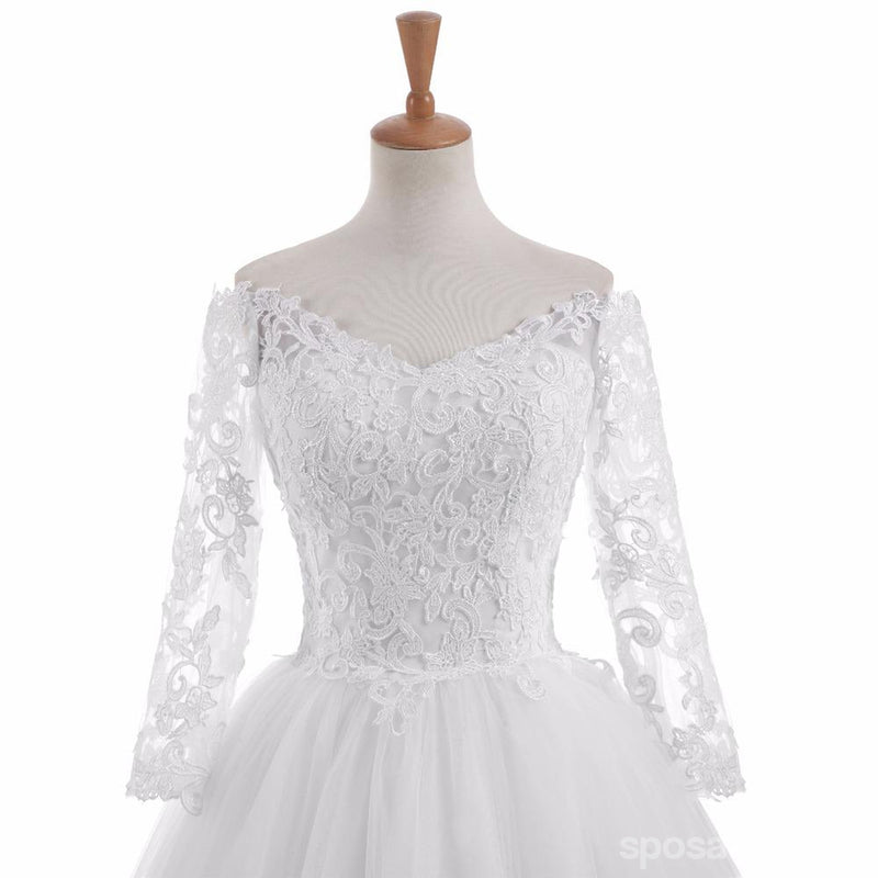 Long Sleeve A line Lace See Through Wedding Bridal Dresses, Custom Made Wedding Dresses, Affordable Wedding Bridal Gowns, WD247