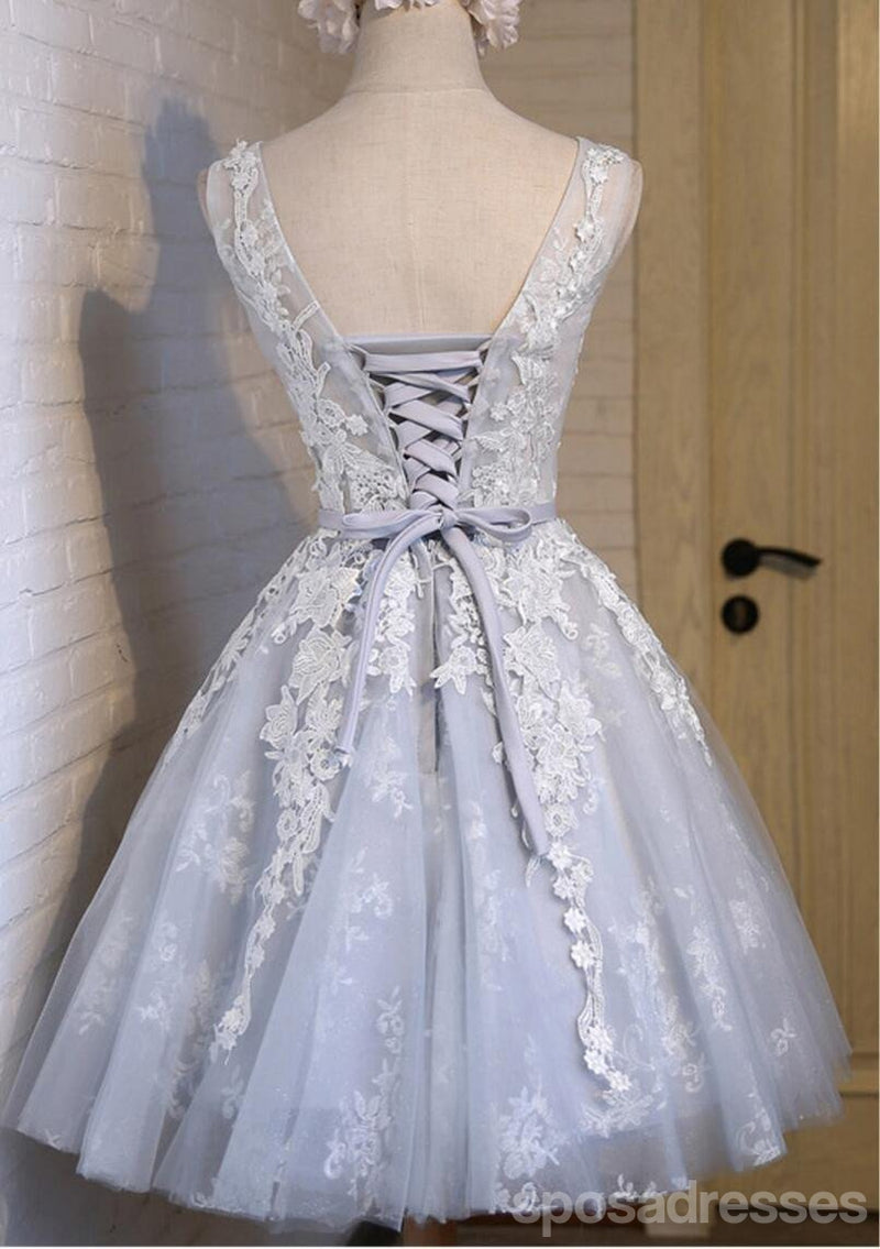 See Through Grey Lace Homecoming Prom Dresses, Affordable Short Party Prom Dresses, Perfect Homecoming Dresses, CM285