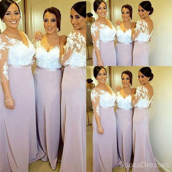 Charming Long Sleeve White Lace Elegant Long Bridesmaid Dresses, WG191