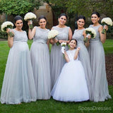 Silver Tulle Elegant Long Cheap Wedding Party Bridesmaid Dresses, WG192