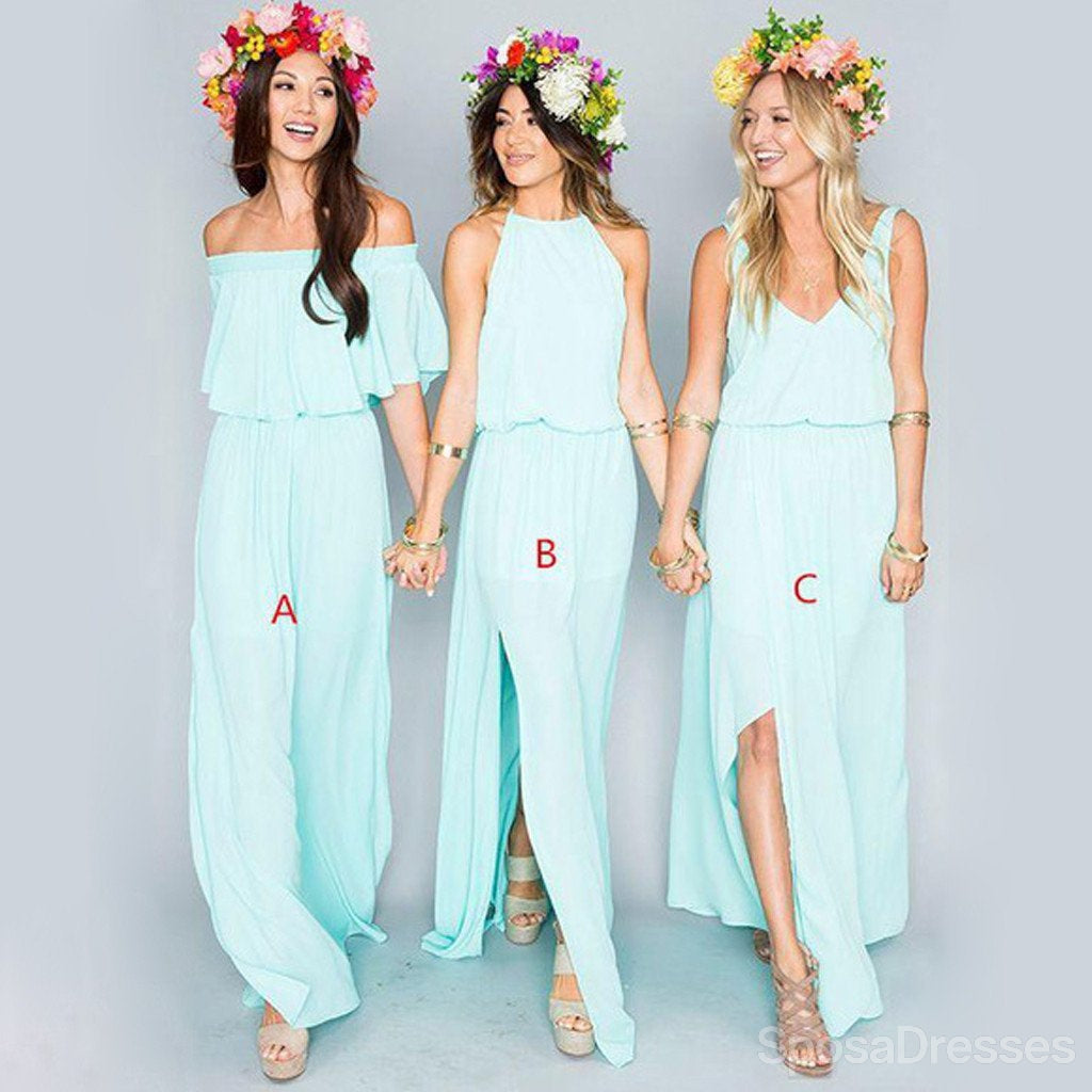 Pretty young junior mint mismatched different styles side split pretty young junior mint mismatched different styles side split chiffon cheap long bridesmaid dresses wg197 ombrellifo Gallery