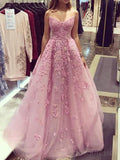 Popular V Neck Lace Pink A line Long Evening Prom Dresses, 17471