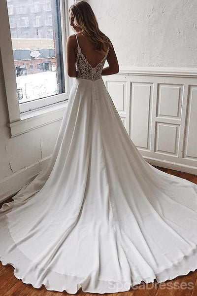 Spaghetti Straps Lace See Through Cheap Wedding Dresses Online, Cheap Unique Bridal Dresses, WD603