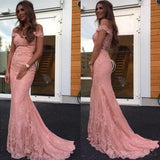 Blush Pink Off Shoulder Lace Beaded Mermaid Evening Prom Dresses, Popular 2018 Party Prom Dresses, Custom Long Prom Dresses, Cheap Formal Prom Dresses, 17208