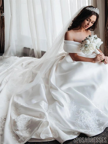 Off Shoulder Long Tail Satin Wedding Dresses, Cheap Wedding Gown, WD690