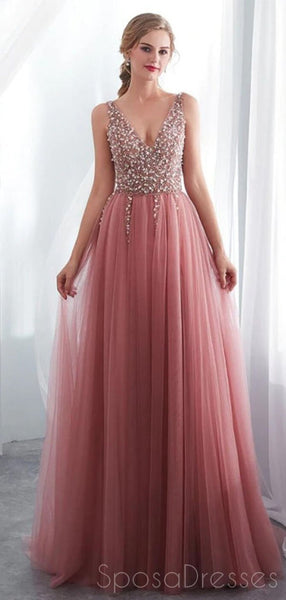 Dusty Pink V Neck Side Slit Beaded Long Evening Prom Dresses, Cheap Custom Sweet 16 Dresses, 18519