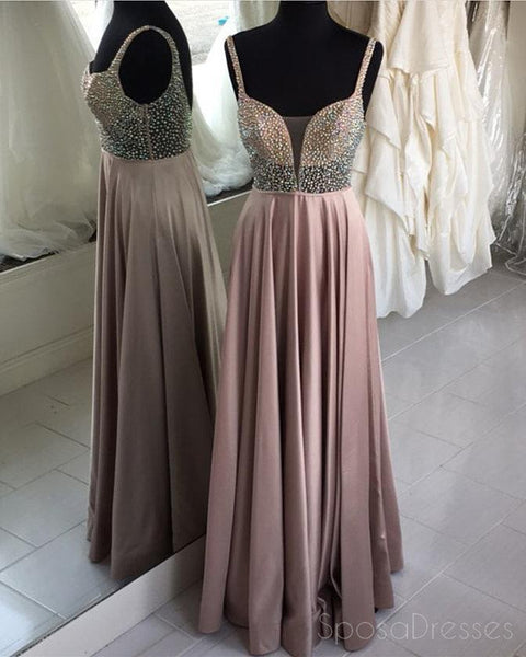 Sexy See Through V Neck Grey Beaded Floor Long Custom Evening Prom Dresses, 17421