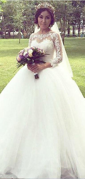 Popular A line Cheap Lace Long Sleeve Wedding Dresses Online, WD425
