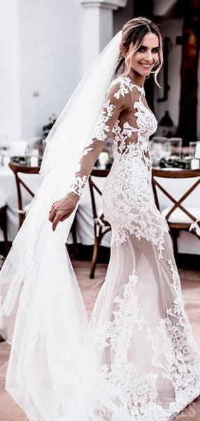 Sexy Long Sleeves Open Back Mermaid Wedding Dresses Online, Cheap Wedding Gown, WD659