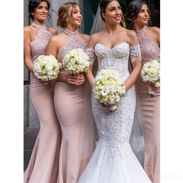 Halter Blush Pink Mermaid Cheap Bridesmaid Dresses Online, WG619