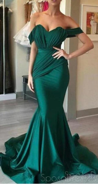 Off Shoulder Emerald Green Mermaid Long Evening Prom Dresses, 17703