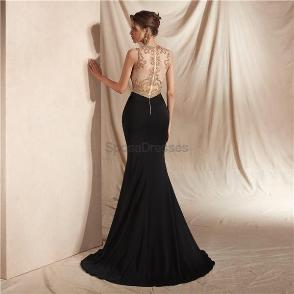 Black Skirt Gold Beaded Side Slit Sexy Mermaid Evening Prom Dresses, Evening Party Prom Dresses, 12069