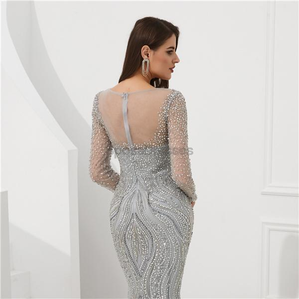 Long Sleeves Grey Heavily Beaded Mermaid Evening Prom Dresses, Evening Party Prom Dresses, 12097