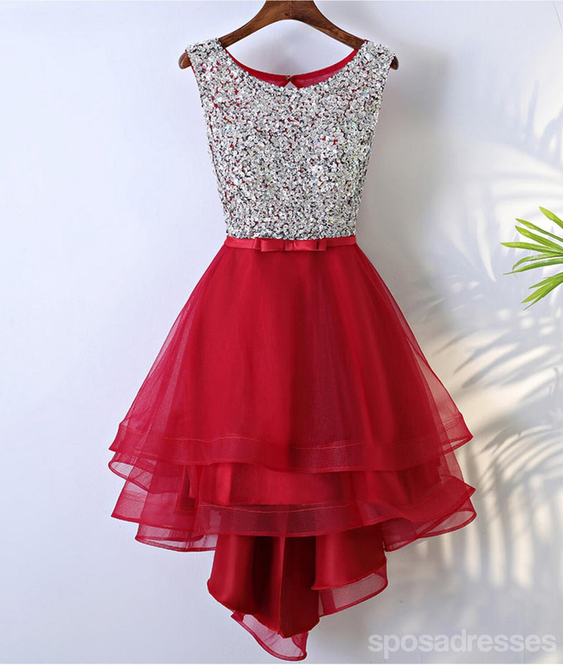 Rhinestone Sequin High Low Open Back Red Homecoming Prom Dresses ...