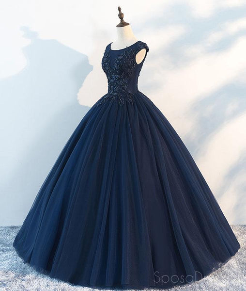 Navy Cap Sleeves Ball Gown Tulle Cheap Long Evening Prom Dresses, Custom Sweet16 Dresses, 18410