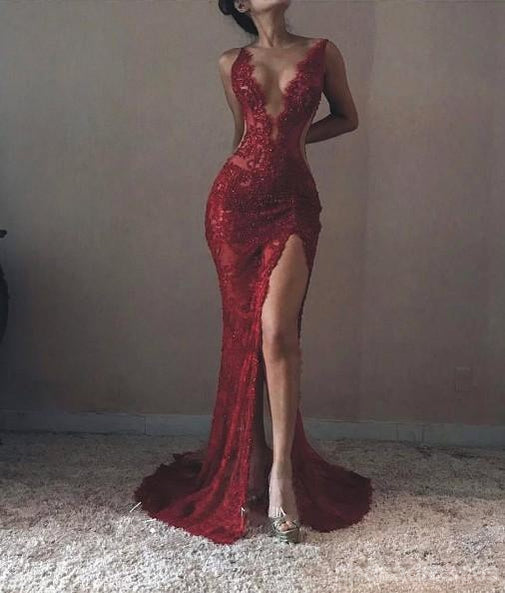 Sexy Backless Maroon Lace Side Slit Deep V Neckline Mermaid Long Evening Prom Dresses, 17531