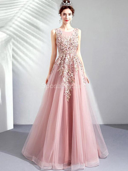 Scoop Lace Beaded Pink Long Evening Prom Dresses, Evening Party Prom Dresses, 12286