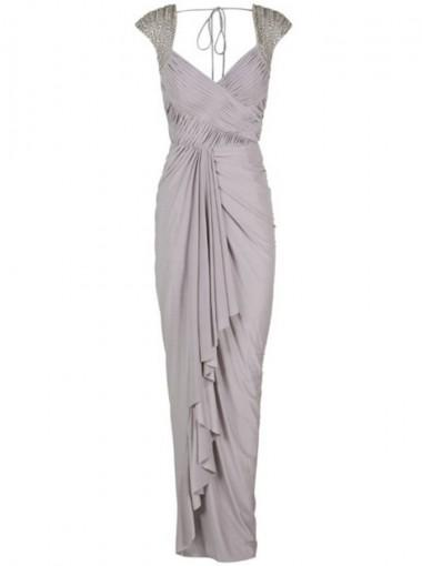 Cap Sleeves Backless Grey Chiffon Cheap Bridesmaid Dresses Online, WG605