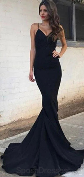 Spaghetti Straps Black Mermaid Long Evening Prom Dresses, Evening Party Prom Dresses, 12169
