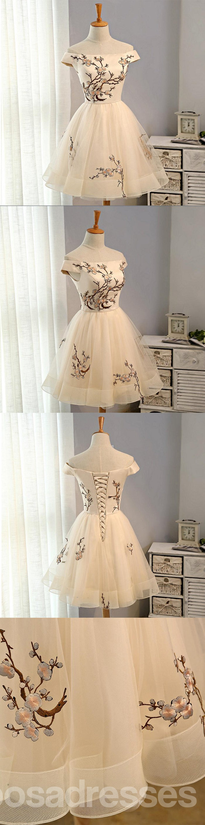 Off Shoulder Straight Neckline Embroidery Tulle Short Homecoming Prom Dresses, Affordable Short Party Prom Sweet 16 Dresses, Perfect Homecoming Cocktail Dresses, CM361