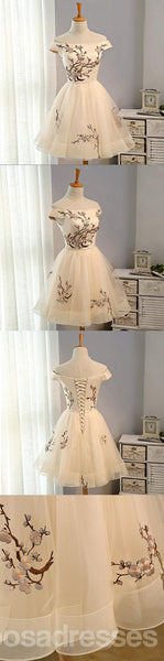 Off Shoulder Straight Neckline Embroidery Tulle Short Homecoming Prom Dresses, CM361