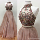 Sexy Two Pieces Heavily Beaded Long Evening Prom Dresses, Popular Cheap Long 2018 Party Prom Dresses, 17246